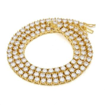 "1 Row 5mm CZ Tennis Chain Full Iced Out Zirconia Luxury Necklace 18"" To 24"" Choker Necklaces Gold Jewelry"