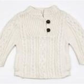 Ivory Cable Knit Pull-Over Sweater