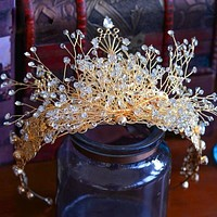 European Gold Handmade Oversize Brides Headpiece