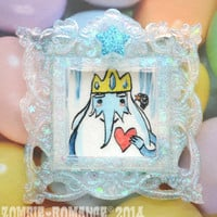 Original Art - Ice King and Gunter From Adventure Time Water Color Painting in a Hand Cast Red Glitter Frame - One of a Kind