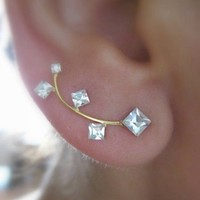 Ear Sweep Wrap - Cuff Earring with Swarovsky Gold Filled - Square