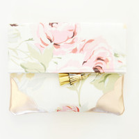 FLORIST 28 / Floral cotton & Natural leather folded clutch - Ready to Ship