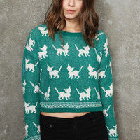 Pins & Needles Cats Cropped Sweater