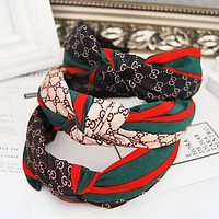 GUCCI Women Accessory red and green striped letters wild Western knot fabric hair card wide hair bands