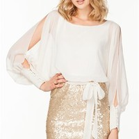 A'GACI Cuff Sleeve Sequin Mini Dress - DRESSES