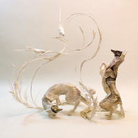 opposites in our perfect sameness - shadow foxes with ringneck parakeets - original handmade OOAK clay art sculptures