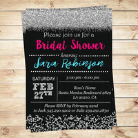 Pink and silver bridal shower invitations, Silver Glitter Bridal Shower Invitations, bachelorette party invitation, Art Party Invitation