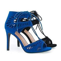 Picca By Delicious, Peep Toe Cut Out Design Corset Lace Up Stiletto Sandals