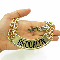 Gold Brooklyn Necklace  - New York Necklace - Ghetto Jewelery