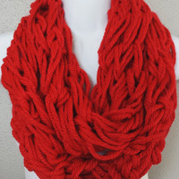 Scarlet Red Arm Knitted Infinity Scarf Womens Fashion Knitting Scarves Bright Red Knit Fall Scarf
