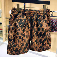 Fendi 2019 new high quality men's retro double F letter printed beach pants casual pants