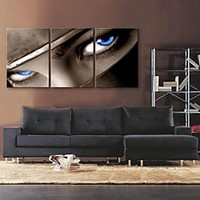 E-HOME® Stretched Canvas Art The Look in The Eyes Decoration Painting Set of 3 | LightInTheBox