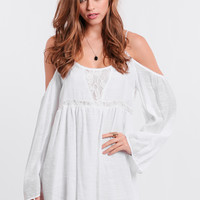Step It Up Lace Accent Dress In White