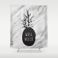Well Hello Shower Curtain by Cafelab