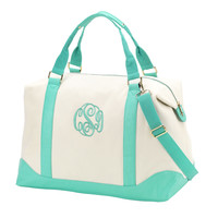 Canvas Monogrammed Weekender Bag in Mint