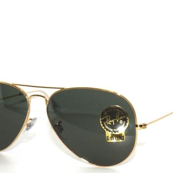 Cheap RAY-BAN SunglaSSeS 3025 001 GOLD/GREEN RAYBAN LARGE AVIATORS 62 outlet Day-First™