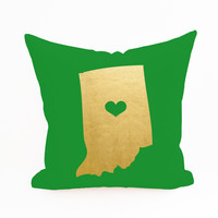 State Pride Indiana with Heart Pillow Cover