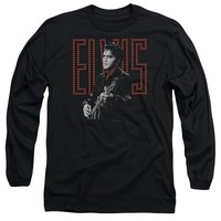 Elvis Presley Long Sleeve T-Shirt Guitar Man Black Tee