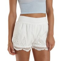 Ivory Lace & Chiffon High-Waisted Shorts by Charlotte Russe