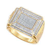 Diamond Micro Pave Mens Ring in 10k Gold 0.42 ctw