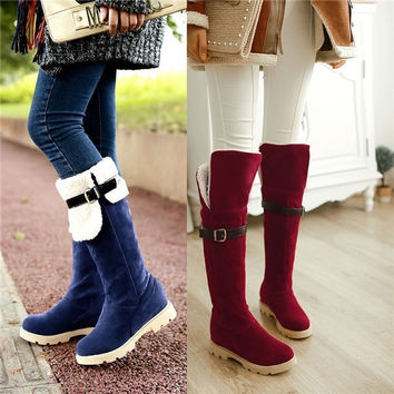 New arrival 2014 winter boots Fashion two wear knee high boots Super warm shoes women Big size EU 34-43 platform boots L2353 = 1828186628