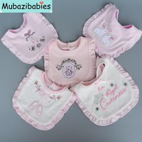 MubazibabiesBaby Bibs Bandana Burp Cotton Lace Pink White Baby Girl Bibs Lovely Cute Embroidery Bib Infant Babador Saliva Towels