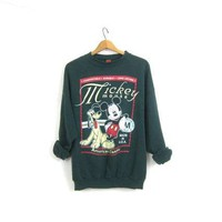 Vintage Mickey Mouse & Pluto Sweatshirt Green Disney Pullover 1990s Novelty Sweater Slouchy Oversized Retro Hipster Top Size XL