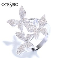 OCESRIO Silver 3 Butterfly shape Zirconia Ring female Big Pendant Curved Rings for women Bridal Wedding Jewelry Trendy rig-f48