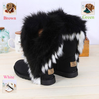 New Women Winter Snow Boots leather boots Ankle Boots Warm fur inside snow boots for women women's winter shoes size 36-43