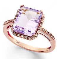 10k Rose Gold Ring, Emerald-Cut Pink Amethyst (2-1/2 ct. t.w.) and Diamond (1/8 ct. t.w.) Ring