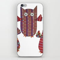 3 Red Owls Flying iPhone & iPod Skin by Erin Brie Art