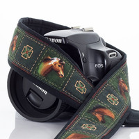 Horses Camera Strap, dSLR, SLR, Mirrorless, Camera Neck Strap, Nikon or Canon Strap, Green, Quick Release, Mens camera strap, 222 w