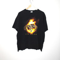 Van Halen band Tshirt black paper thin vintage rock tee medium