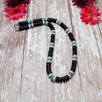 Men's Beach Surfer Style Howlite Heshi Necklace In Black, Turquoise, & White