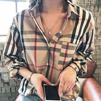 Burberry Fashion New Stripe Plaid Long Sleeve Top Shirt Women