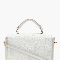 Marc By Marc Jacobs Ivory Leather Top Handle Goodbye Columbus Croc-embossed Bag for women | SSENSE