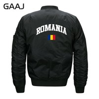 GAAJ Romania Flag Jackets Men Print Casual Jacket Militar Clothes Warm Windbreaker Military Style For Male Bomber Pilot  #33KLJ
