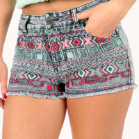 Here With Me Shorts: Denim/Multi