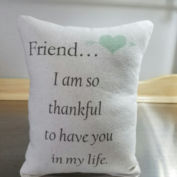 Friend quote pillow bff gift cotton cushion
