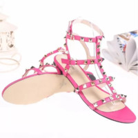 Valentino 2018 summer new style thick with wild rivets hollow sexy shoes F-ALS-XZ