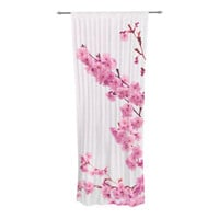 "Monika Strigel ""Cherry Sakura"" Pink Floral Decorative Sheer Curtain"