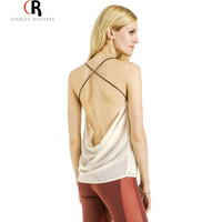 Women Sleeveless Backless Spaghetti Strap Cross Back Chiffon Sexy Loose Casual Top Vest Camis Blouse 2015 Summer New Fashion