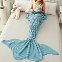 Mermaid Party to Be Adored Blanket Scales shape Christmas Gift Blue