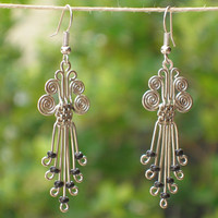 African Jewelry - Silverplated Legacy Earrings with Black Beads