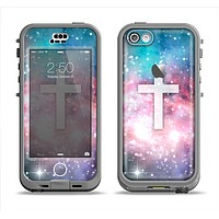 The Vector White Cross v2 over Colorful Neon Space Nebula Apple iPhone 5c LifeProof Nuud Case Skin Set