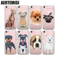 Aertemisi Phone Cases Cute Dogs Westie Bull Terrier Pug Pomsky Puppy Clear TPU Case Cover for iPhone 5 5s SE 6 6s 7 Plus