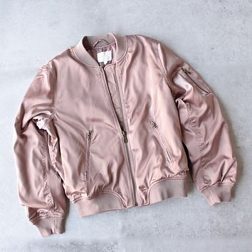 Padded Satin Bomber Jacket in Mauve