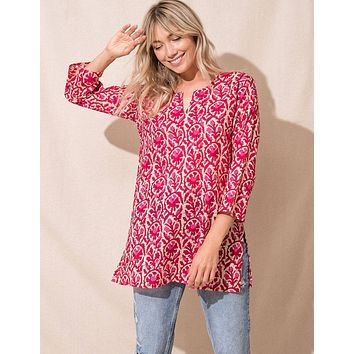 Sanchi Cotton Tunic - Berry - As-Is-Clearance - Large Only