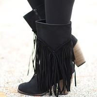 Fringe Fanatic Boots in Black