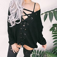 KIANA LACE UP OVERSIZED SWEATER (BLACK)